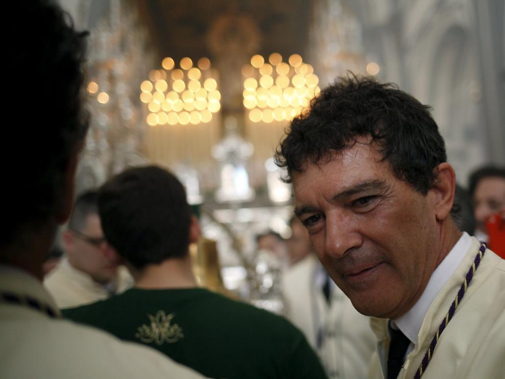 El actor Antonio ?Banderas, en su cita anual con la Virgen de Lágrimas de Málaga