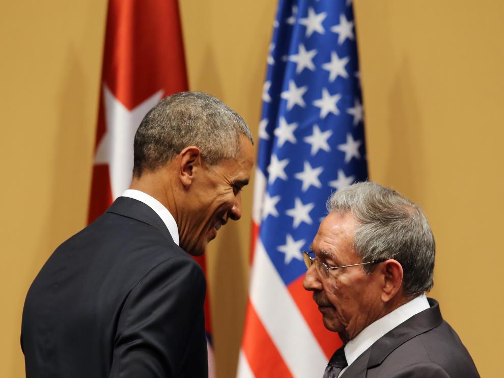 Barack Obama y Raúl Castro durante la visita del presidente estadounidense a Cuba.