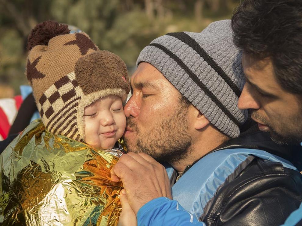 Desembarco de refugiados en la isla de Lesbos