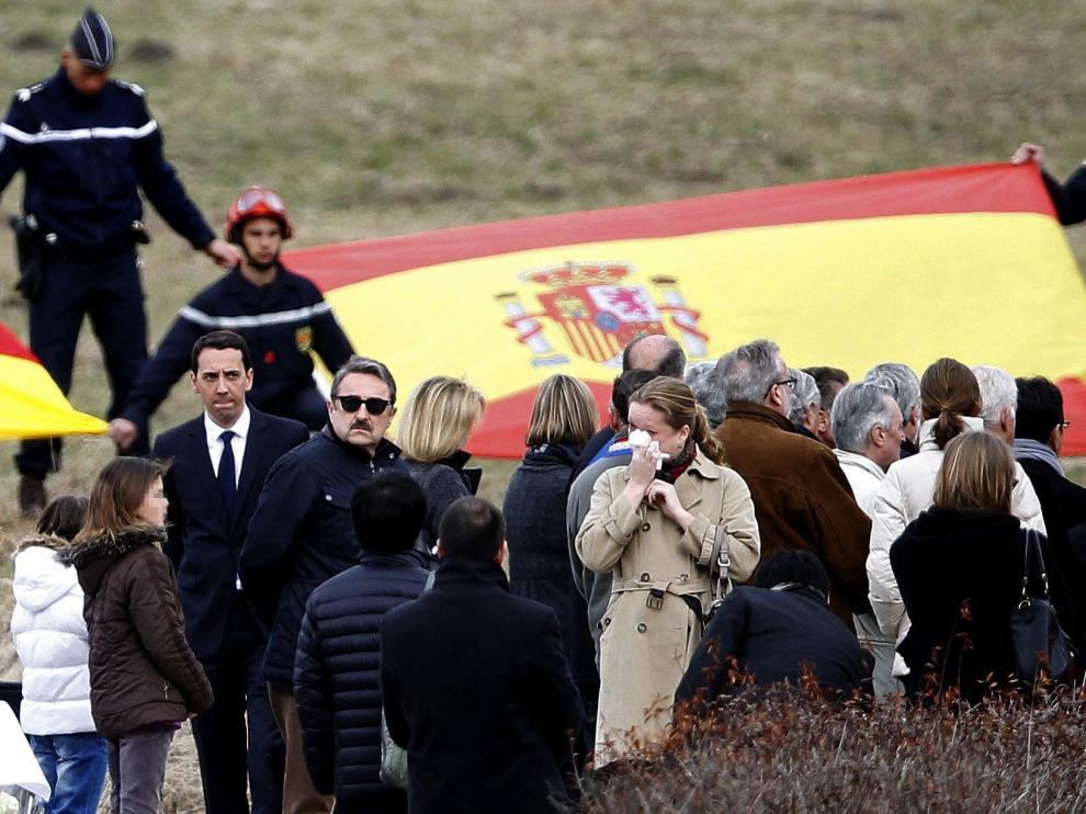La primera visita a Le Vernet. Los familiares de las 150 víctimas del accidente del vuelo Germanwings estuvieron por primera vez en la zona del siniestro el 26 de marzo de 2015.