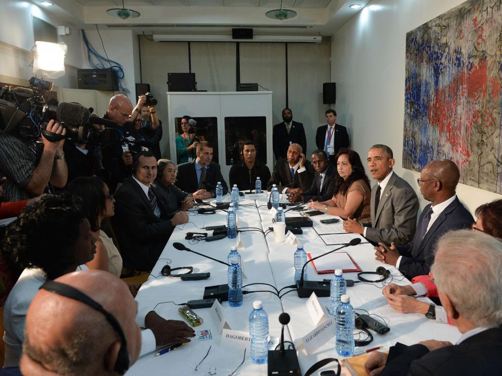 Obama, reunido en La Habana con disidentes cubanos.