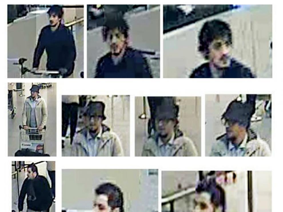 Imágenes de Jalid y Brahim el Bakraui y de Najim Laachraoui (en el centro) tomadas por las cámaras del aeropuerto.