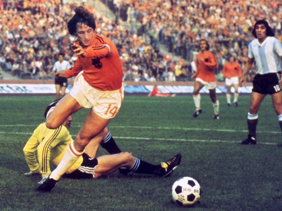 Cruyff en su etapa de jugador de la selección holandesa.