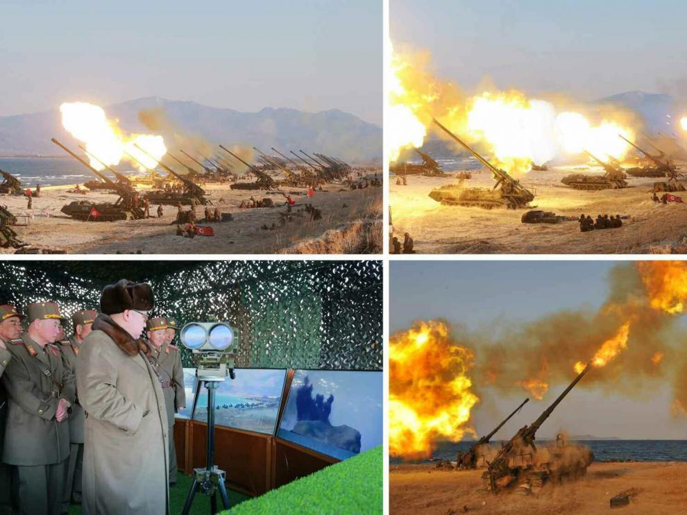 Atillería de largo alcance de Corea del Norte, durante el ejercicio de simulacrro de ataque a Corea del Sur
