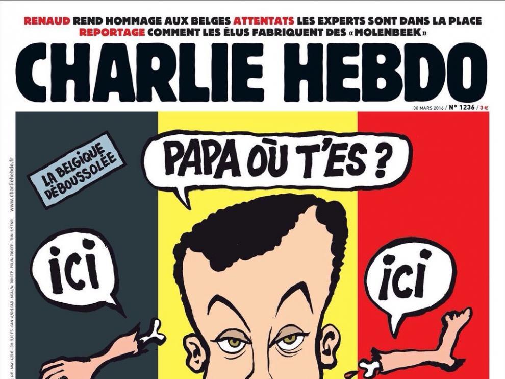 La polémica portada del semanario satírico francés Charlie Hebdó tras los atentados de Bruselas.