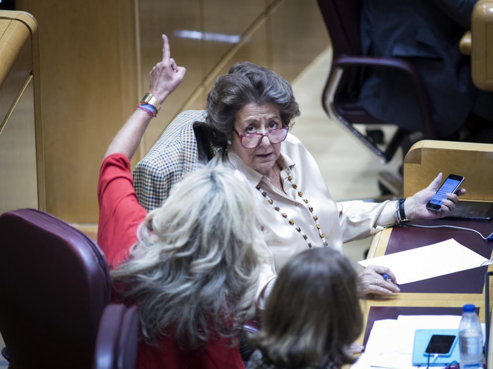 La senadora del PP Rita Barberá durante el pleno de este martes.