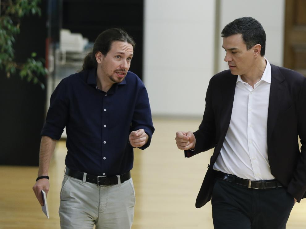 Encuentro de Pedro Sánchez y Pablo Iglesias