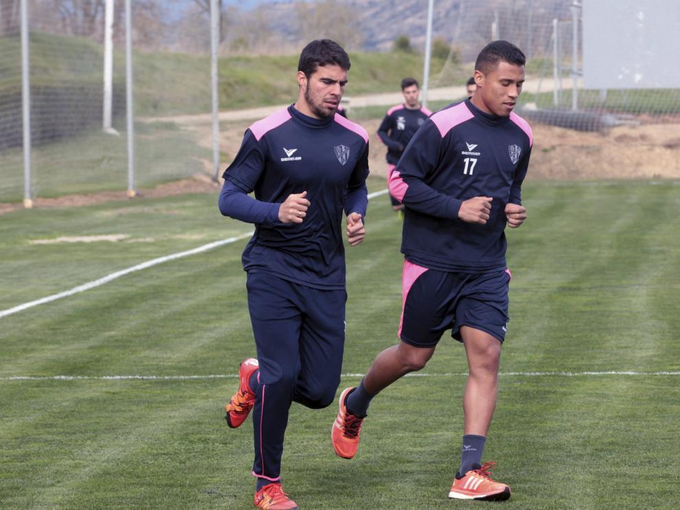 Machís y Alexander en el entrenamiento del martes.
