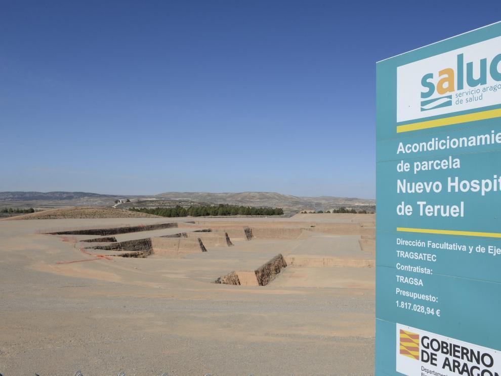 Parcela en obras del nuevo hospital de Teruel.