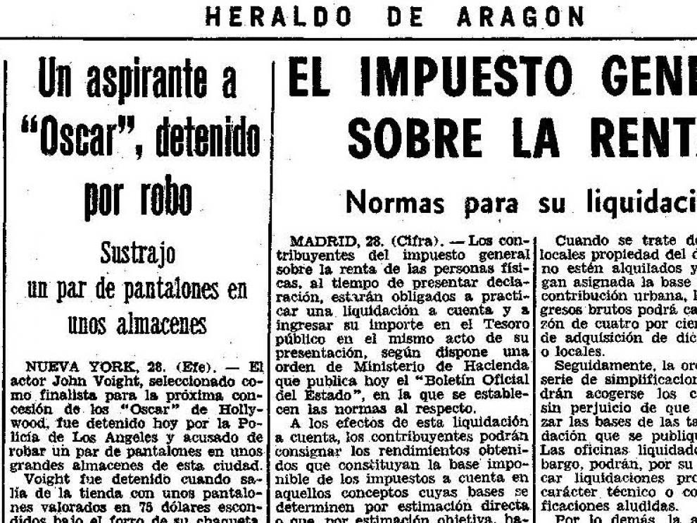 Noticia publicada en Heraldo el 29 de marzo de 1970.