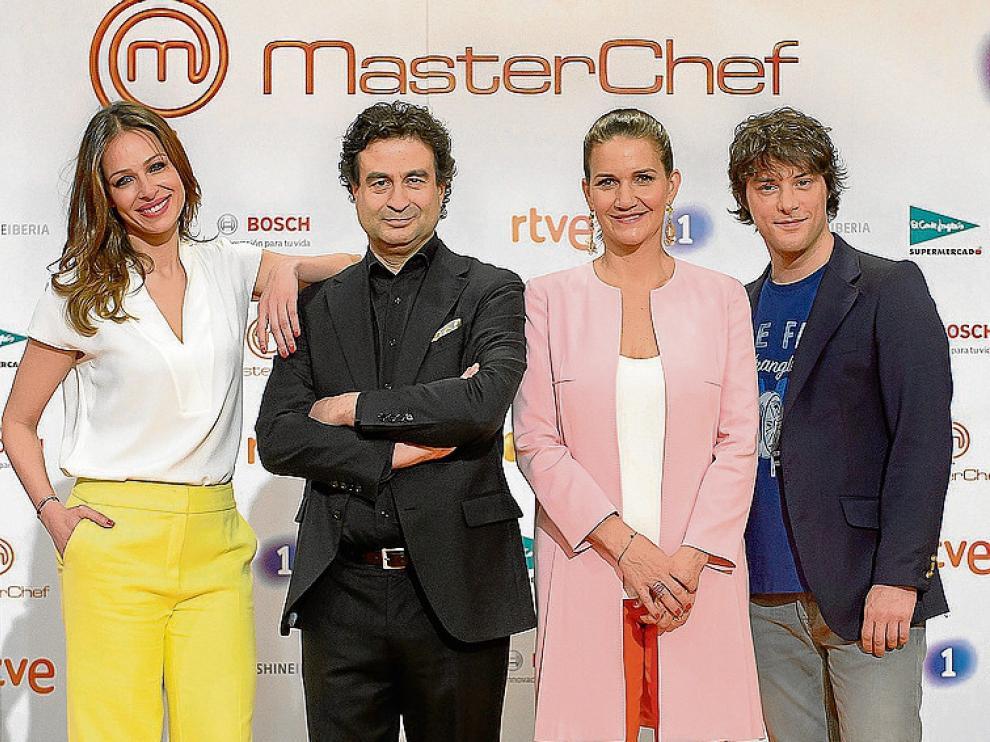 La presentadora y el jurado de 'Masterchef', en Madrid.