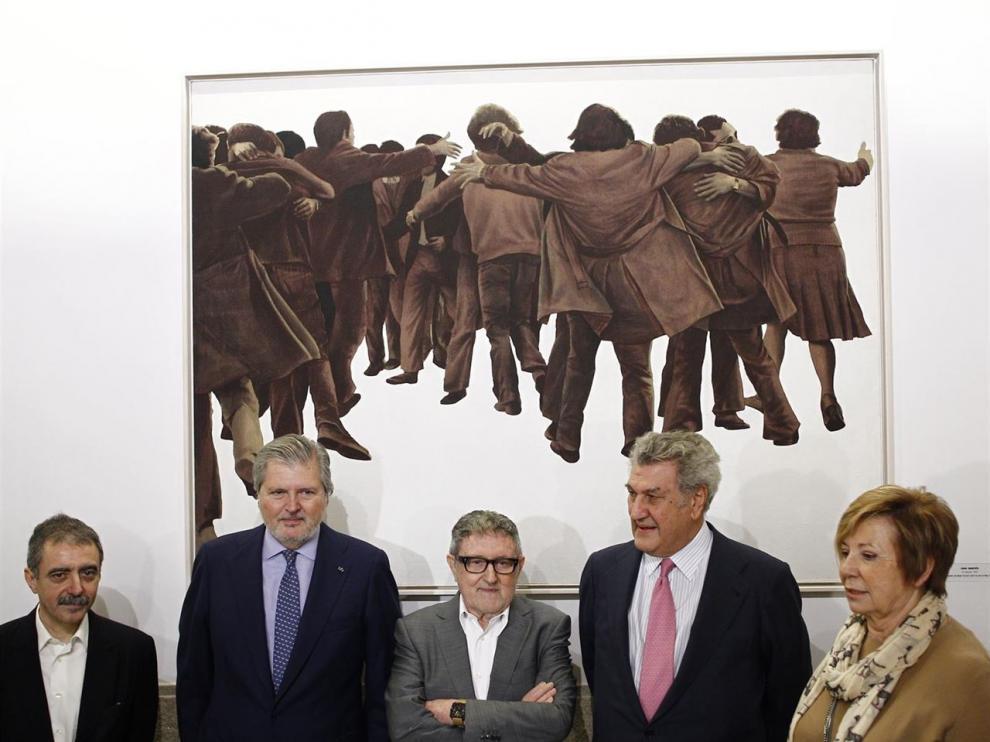 Genovés, en el centro, en el acto de cesión del cuadro al Congreso