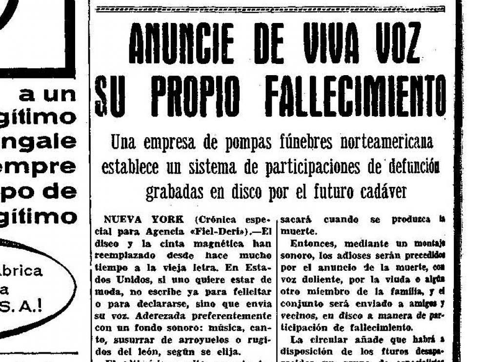 Noticia publicada en Heraldo de Aragón el 3 de abril de 1966.