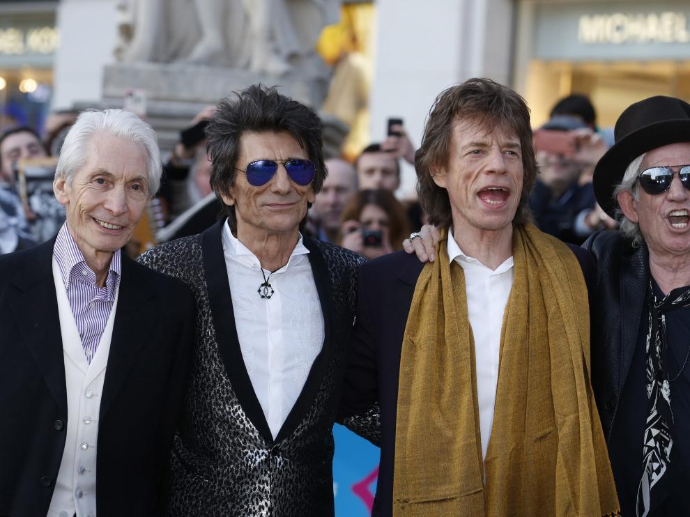 Los Rolling, en la inauguración de la muestra.