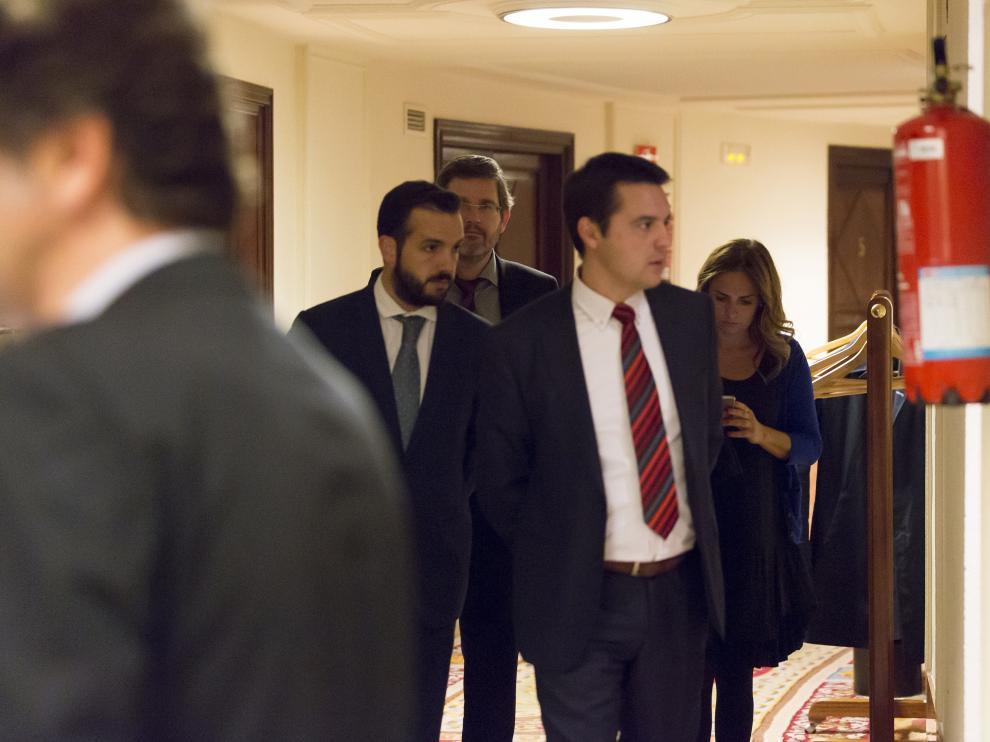 Gonzalo Palacín, Ignacio Urquizu, Óscar Galeano y Susana Sumelzo, este martes en el Congreso.