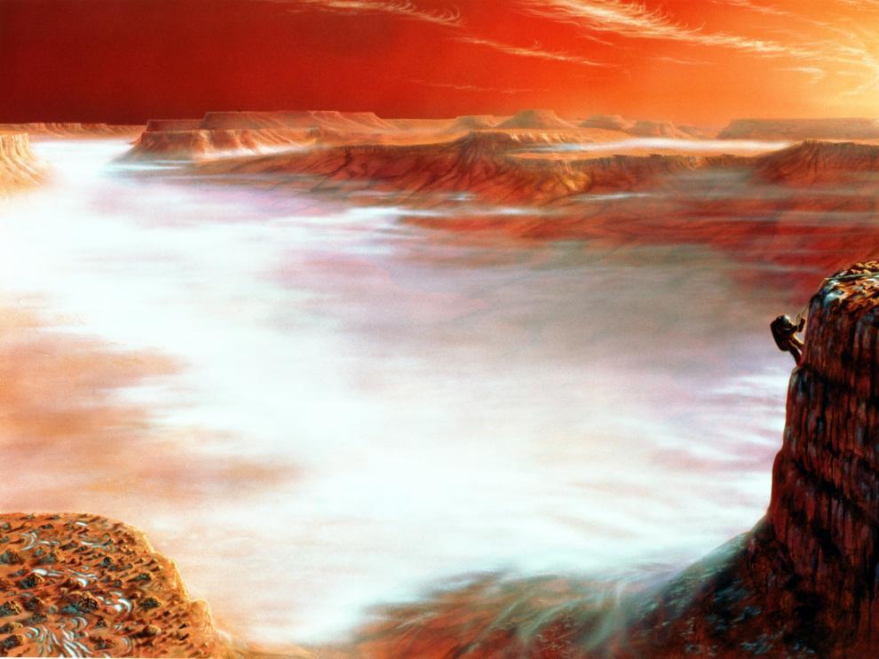 Una escena de exploración de los territorios marcianos, recreada por los artistas de la Nasa.