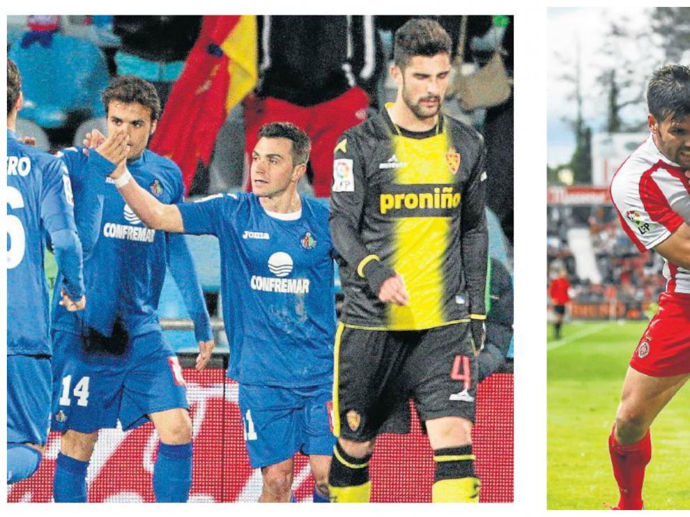 Colunga celebra el gol de penalti que marcó al Zaragoza en 2010 y Ortuño pelea con Rico en el duelo Girona-Zaragoza del año 2014.