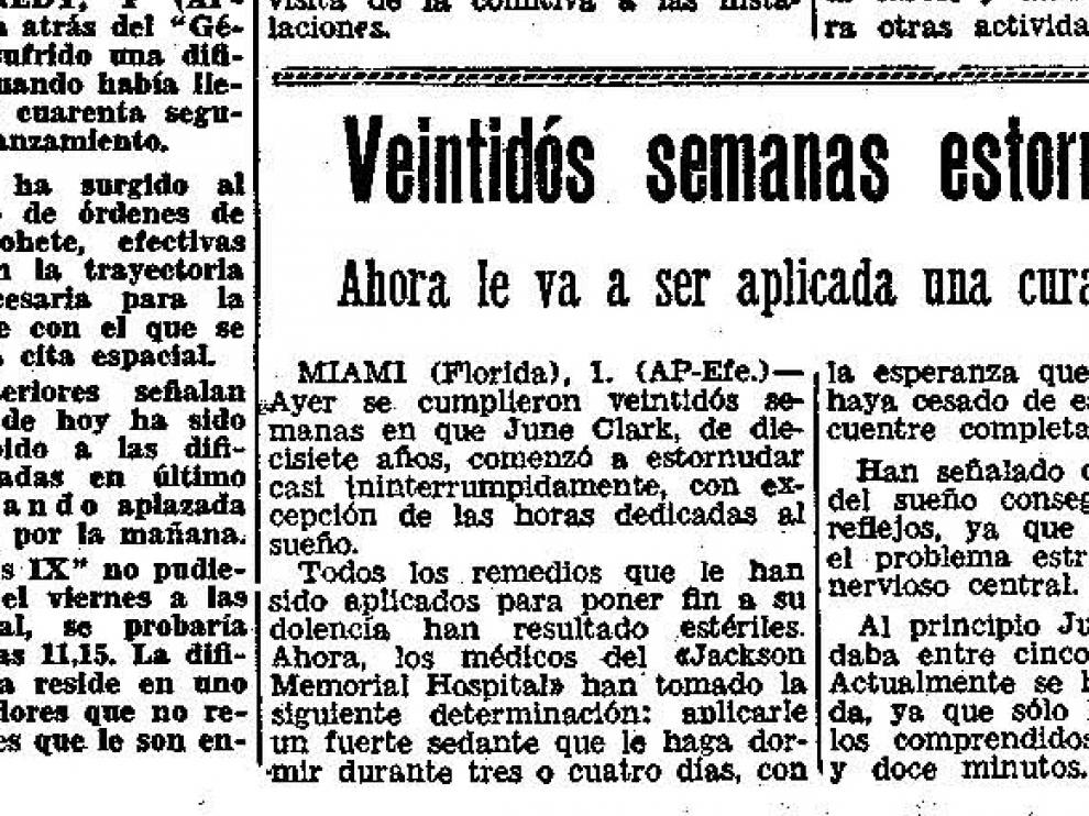 La maldición de una joven que no para de estornudar. Noticia publicada en Heraldo en 1966.