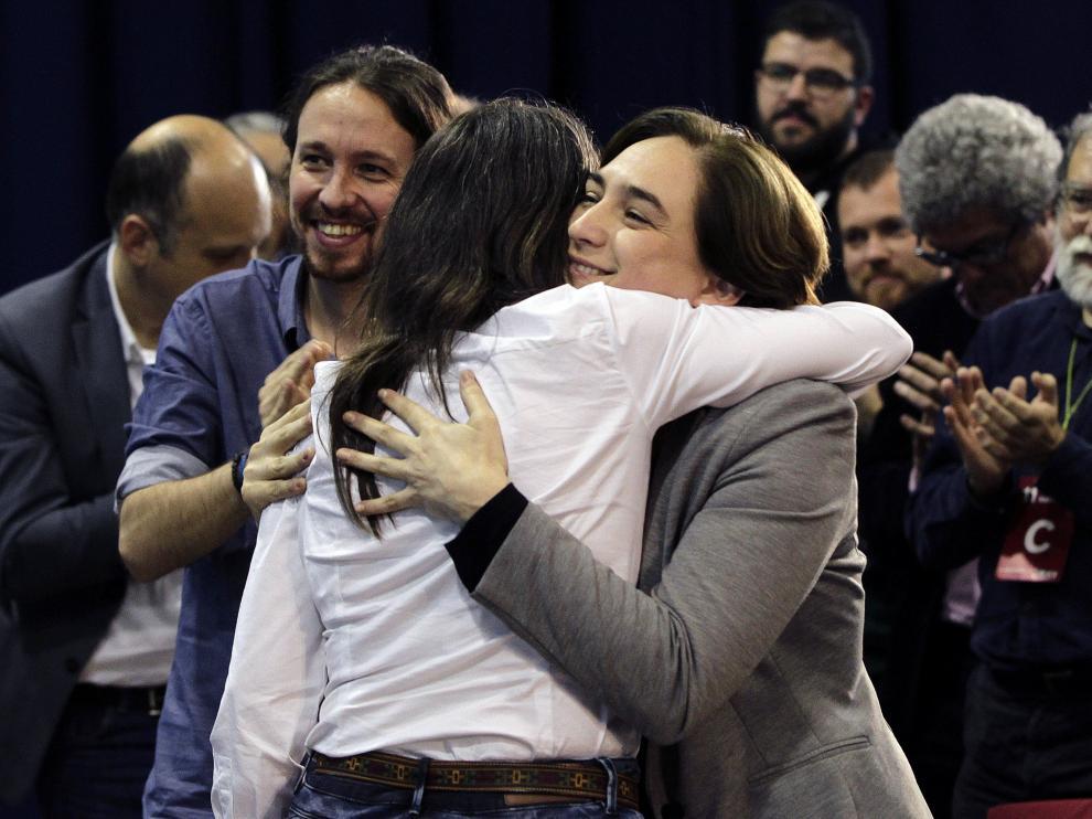 Pablo Iglesias y Ada Colau, en Barcelona