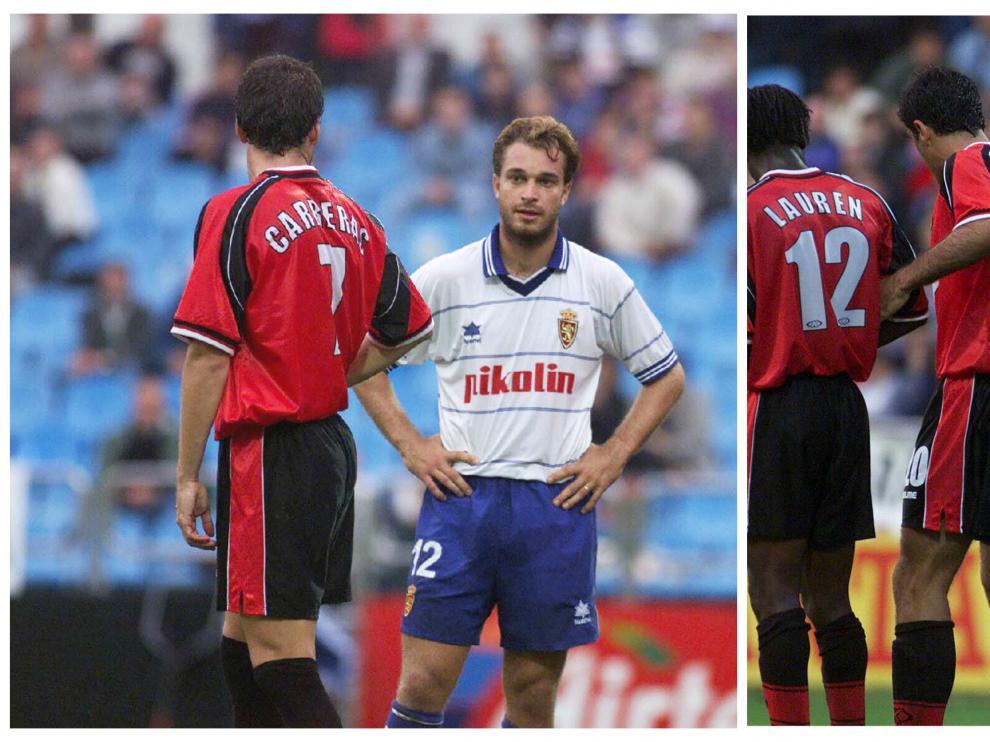 Dos momentos del Real Zaragoza-Real Mallorca de 1999 con Carreras (número 7) jugando en el cuadro balear. En la primera, discute con Jamelli. En la segunda, forma una barrera en una falta junto a Nadal, Lauren, Diego Tristán, Stankovic y Siviero.