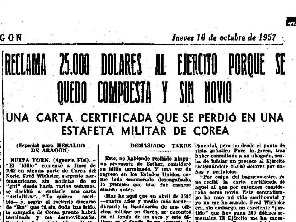 Noticia publicada en Heraldo de Aragón el 10 de octubre de 1957.