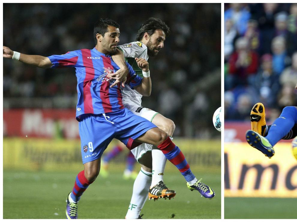 Ángel, a la izda. y Roger, a la dcha., en dos lances de sendos partidos con la camiseta del Levante, club en el que jugaron juntos hace tres temporadas, en la campaña 2012-13 en Primera División.