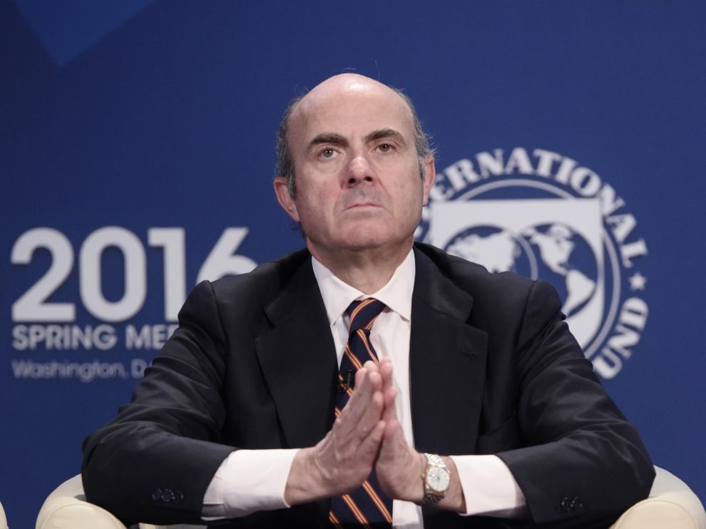 El ministro de Economía, Luis de Guindos, ha participado en la rueda de prensa de los ministros de Finanzas del G5 en Washington.