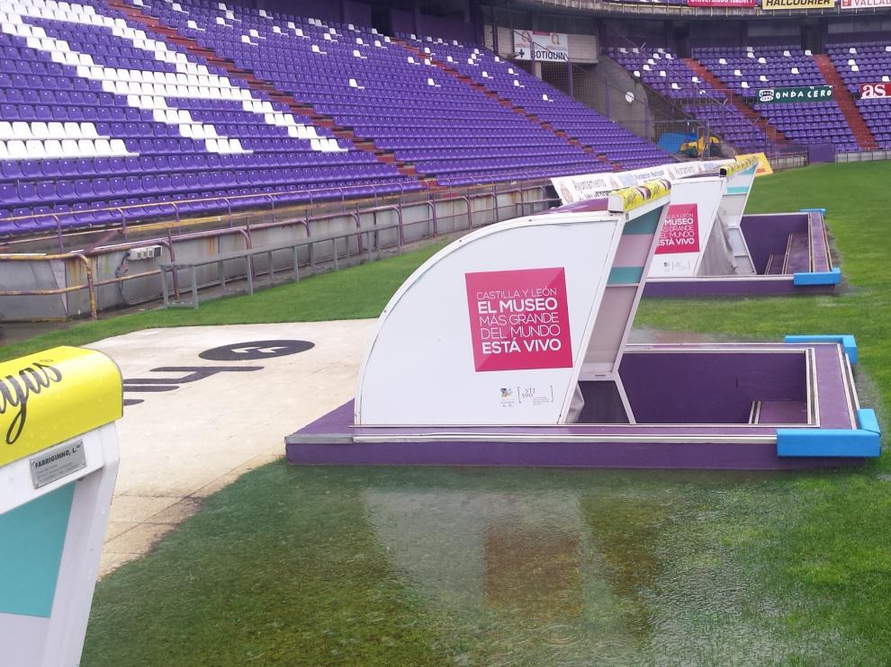 El estadio José Zorrilla, encharcado