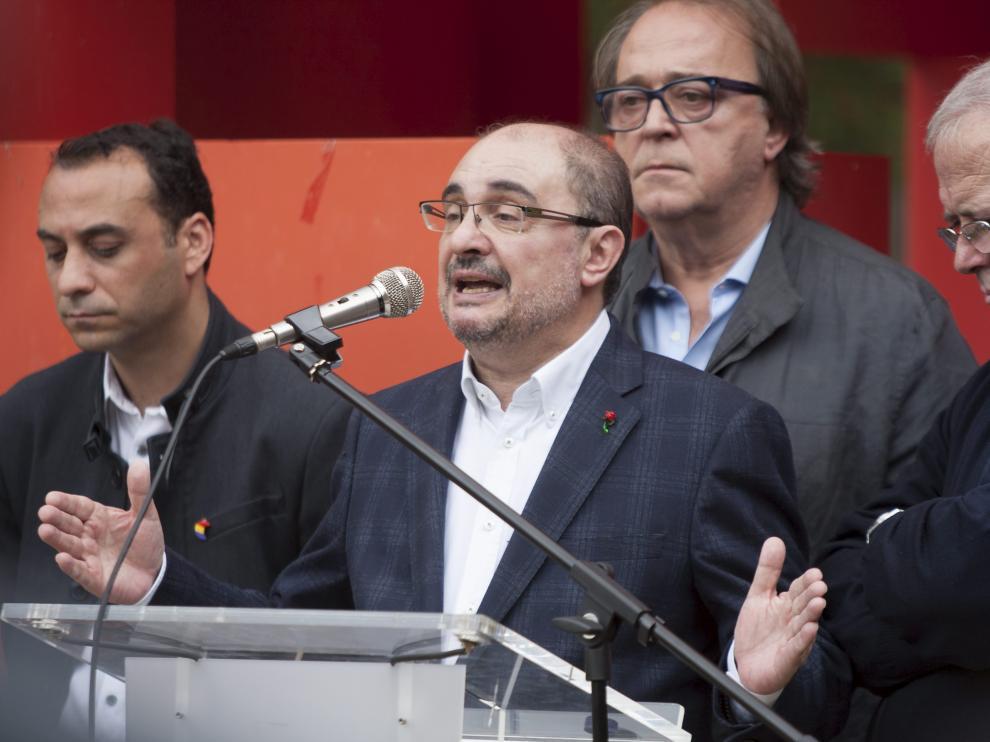 Javier Lambán, en el acto en el que ha participado este sábado en Torrero.