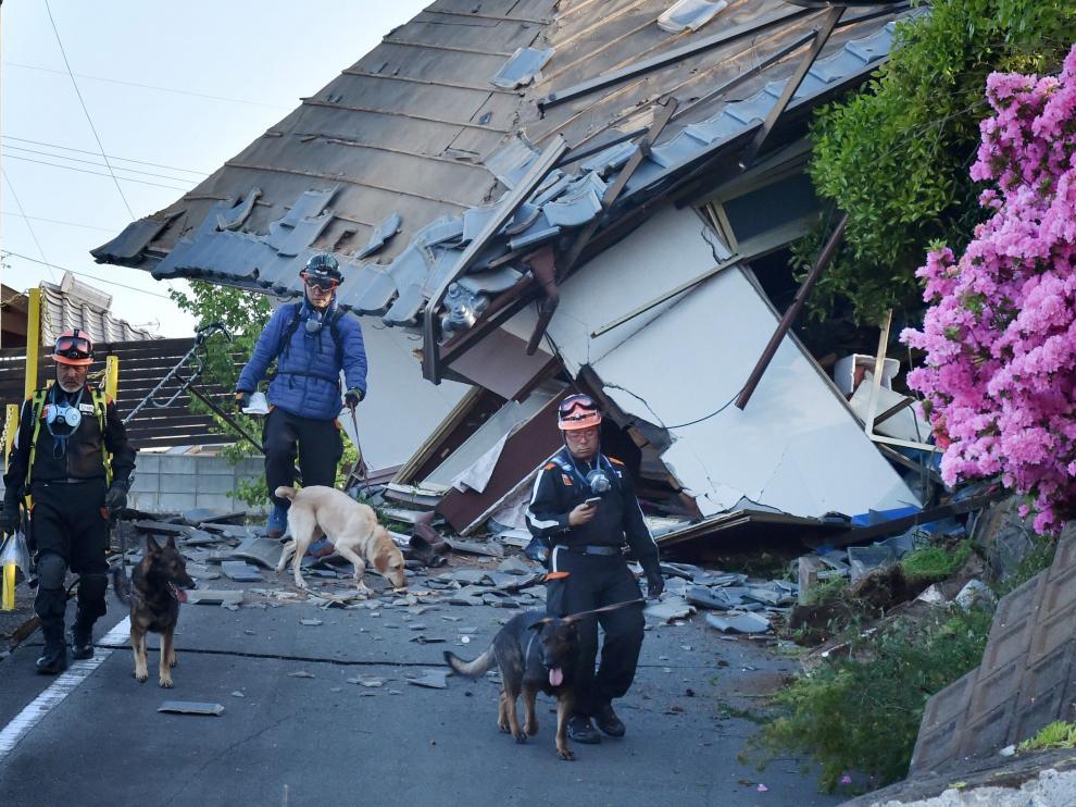 Zona de Japón afectada por el último terremoto, en  la prefectura de Kumamoto.