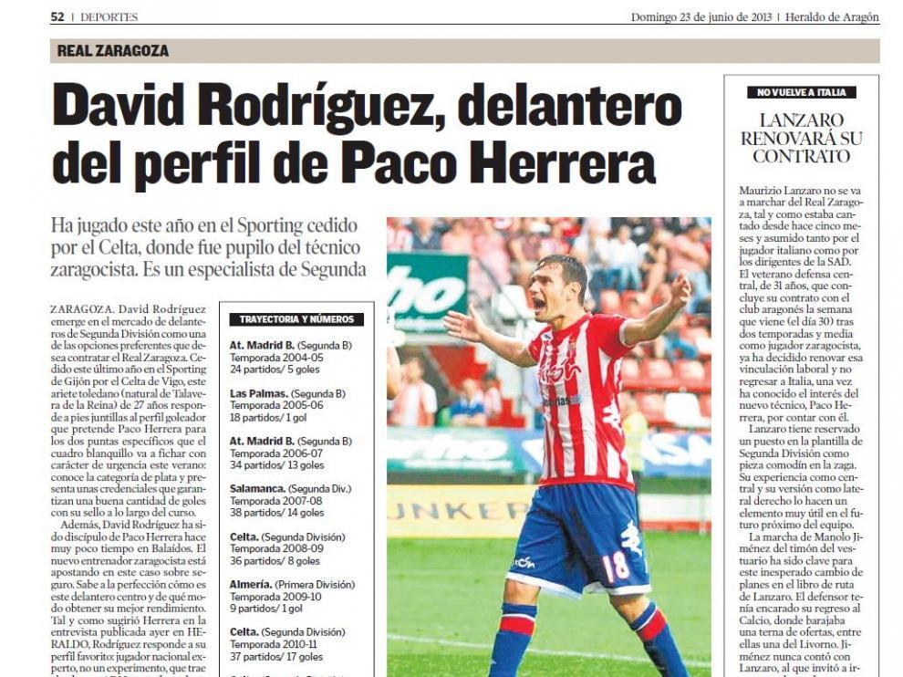 Información sobre el pretendido fichaje de David Rodríguez por el Real Zaragoza publicada el 23 de junio de 2013.