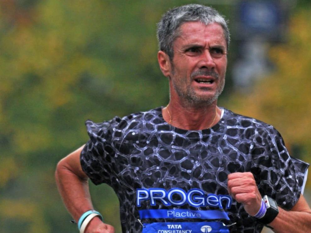 El atleta español Martín Fiz, primero en la maratón de Boston en la categoría de mayores de 50 años.