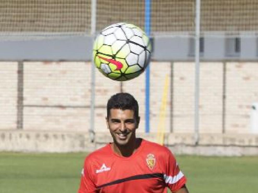 Ángel, en un lance de un entrenamiento en la Ciudad Deportiva.