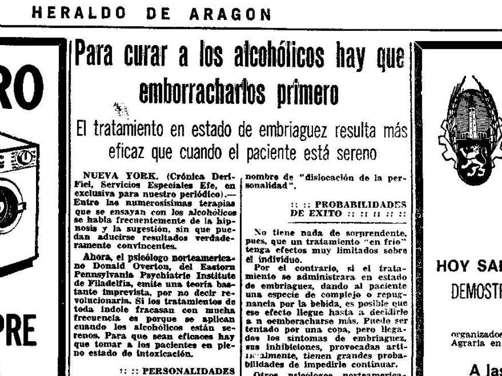 'Para curar a los alcohólicos primero hay que emborracharlos primero', noticia publicada el 14 de abril de 1973.
