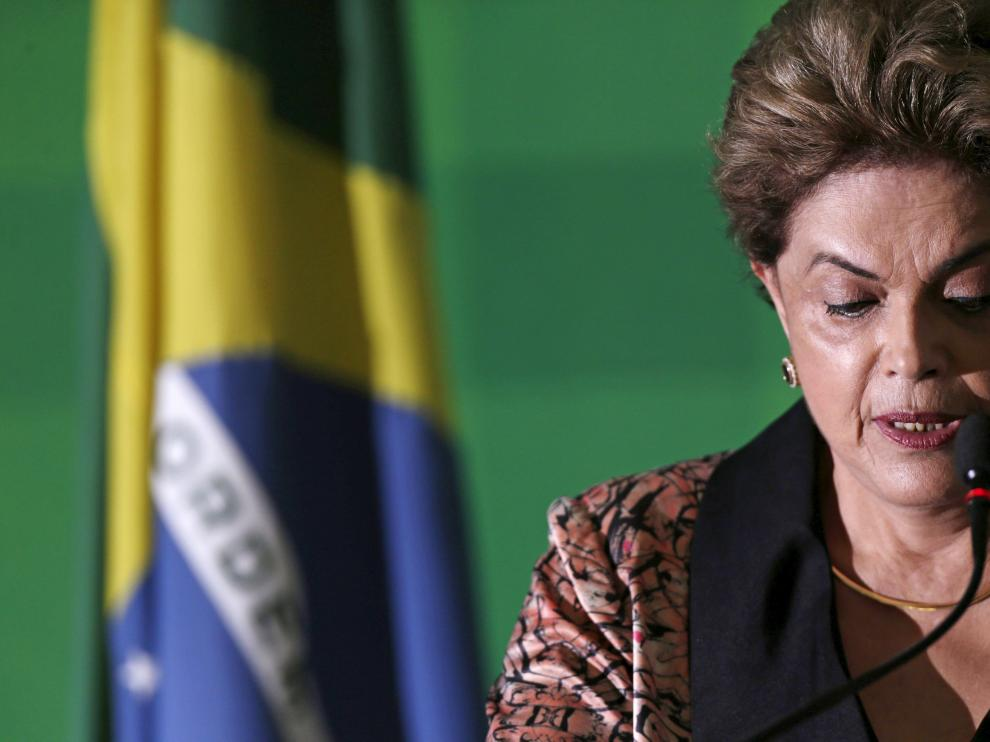 La presidenta brasileña, Dilma Rousseff, durante una conferencia de prensa.