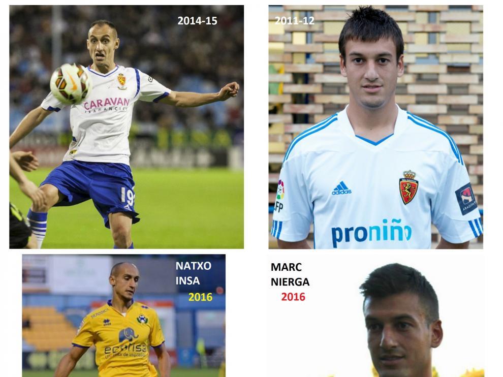 Natxo Insa y Marc Nierga, antes y después como zaragocistas y, ahora, jugadores del Alcorcón.