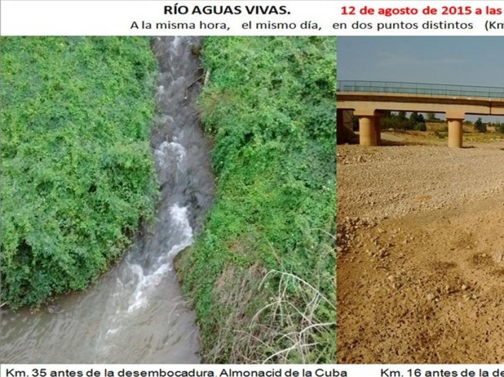 Imagen facilitada por Vialaz que muestra el caudal del río Aguas Vivas en distintos puntos.