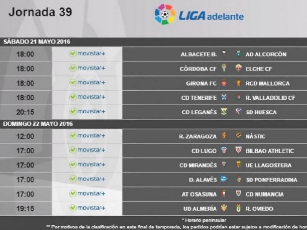 Horarios y fechas de los partidos de la 39ª Jornada de Segunda División.