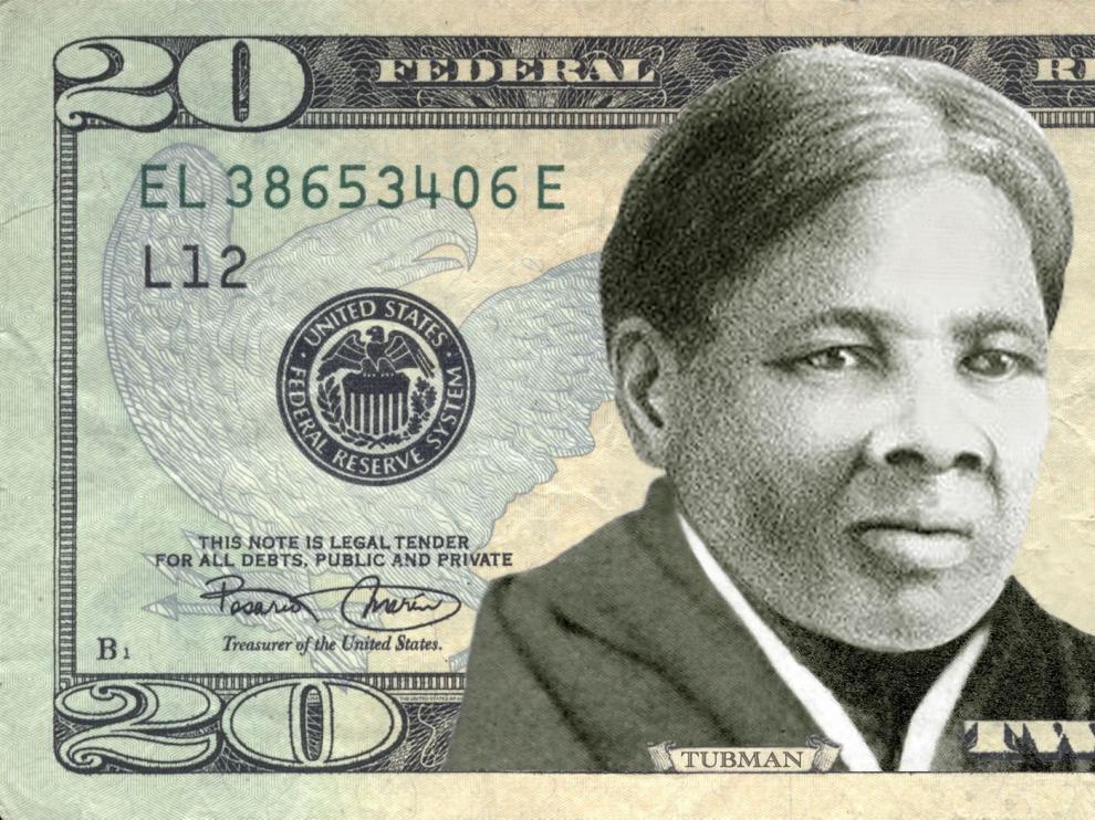 Billete de 20 dólares un retrato de Harriet Tubman.
