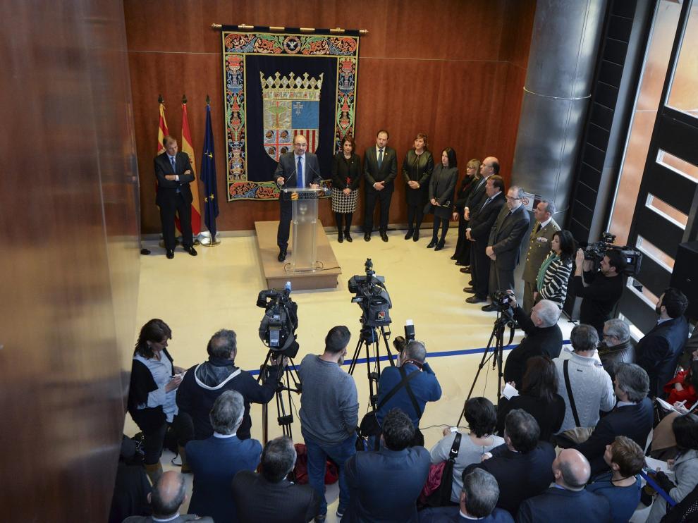 Javier Lambán durante su discurso en la delegación del Gobierno aragonés en Teruel.