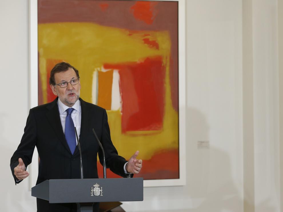 El presidente del Gobierno en funciones, Mariano Rajoy, en el Palacio de la Moncloa