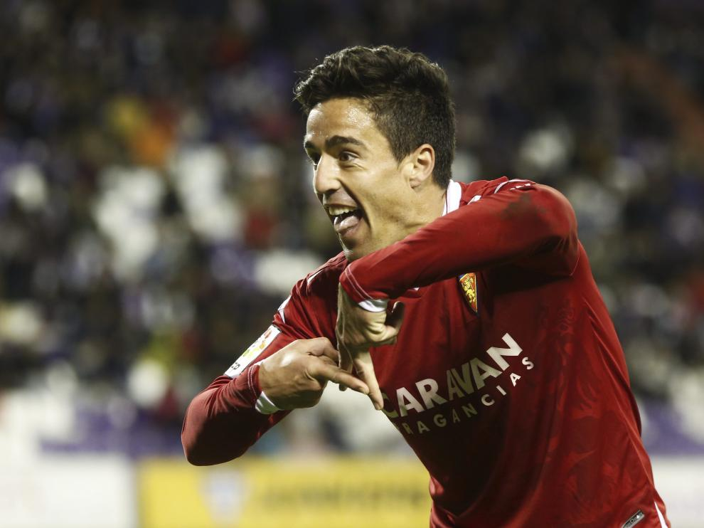 Pedro celebra el 1-2 que logró en Zorrilla ante el Valladolid minutos antes de ser expulsado.