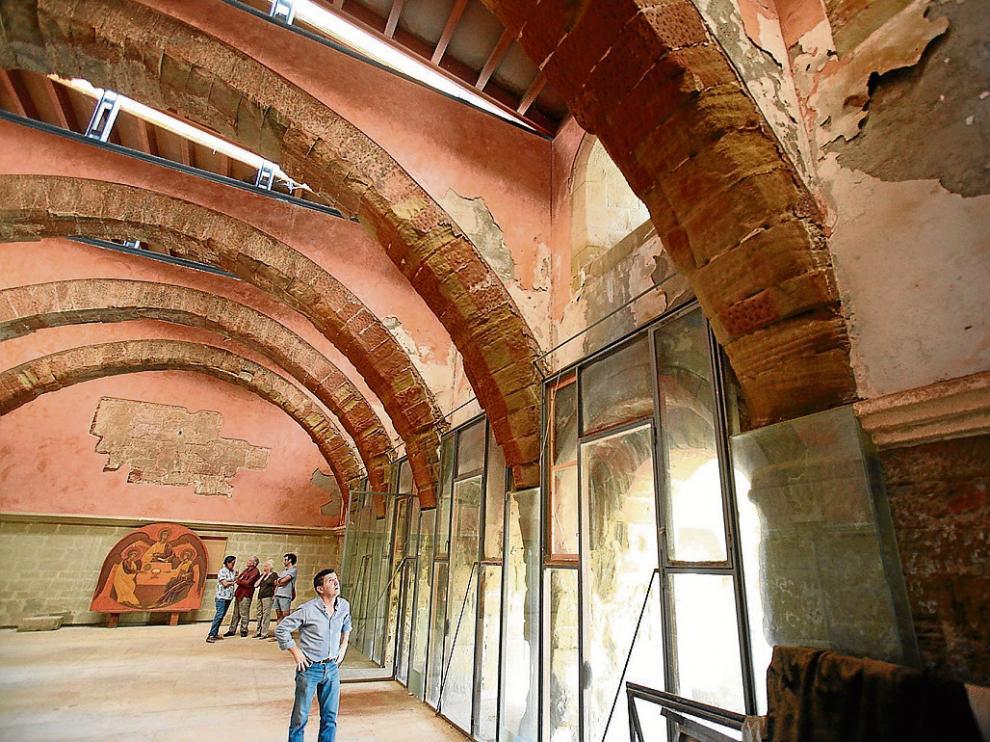 La sala capitular del monasterio de Sijena, cuyos arcos decoraban las pinturas reclamadas.
