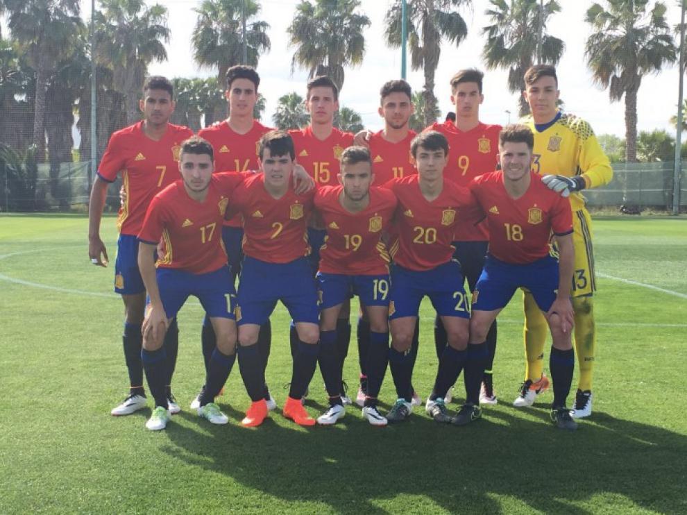 La selección española sub-17, en el partido amistoso contra Costa Rica