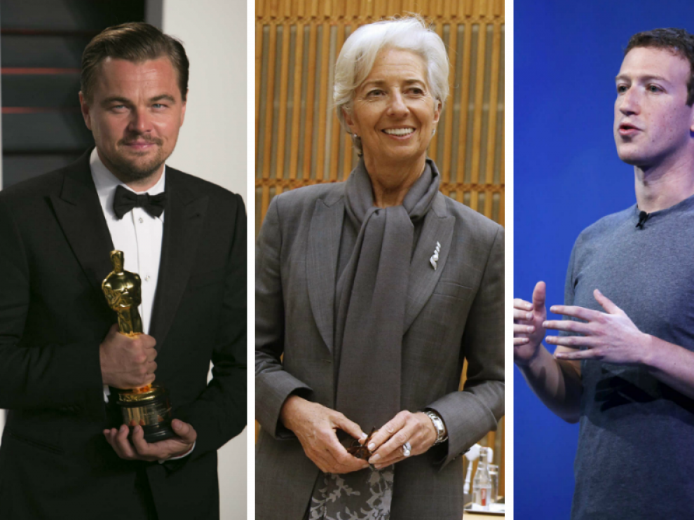 DiCaprio, Lagarde y Zuckerberg.