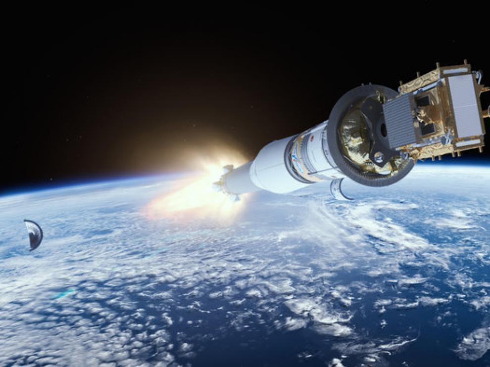 Una recreación del Sentinel en órbita.