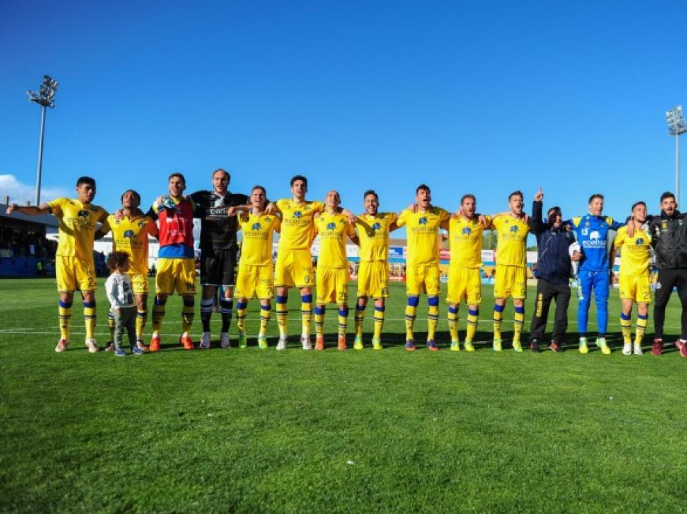 El Alcorcón celebra la victoria del pasado fin de semana contra el Leganés