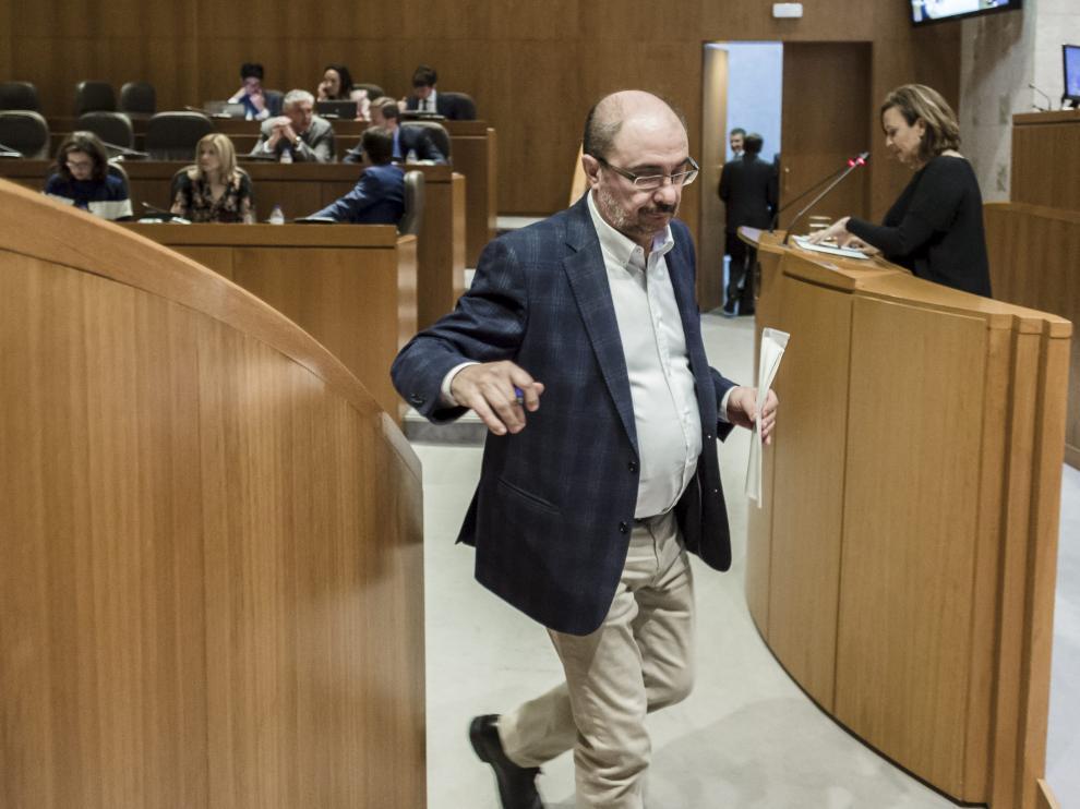 Javier Lambán, este jueves en las Cortes