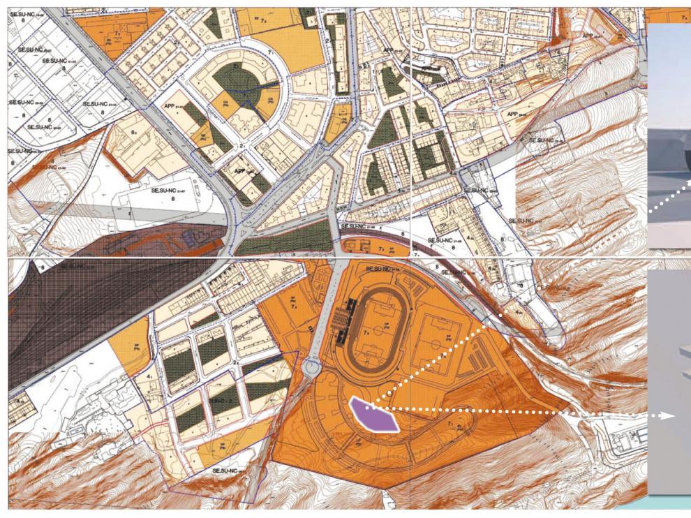 El nuevo edificio del Campus se levantará en el terreno existente entre las actuales instalaciones universitarias y el campo de fútbol de tierra anexo a Los Pajaritos que se transformará en hierba artificial.