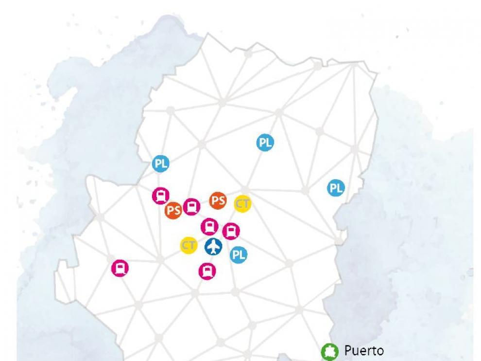 Mapa logístico y de transporte de Aragón.